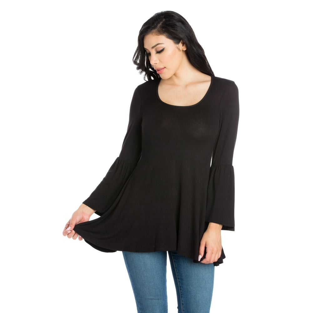 24seven Comfort Apparel Long Bell Sleeve Flared Tunic Top