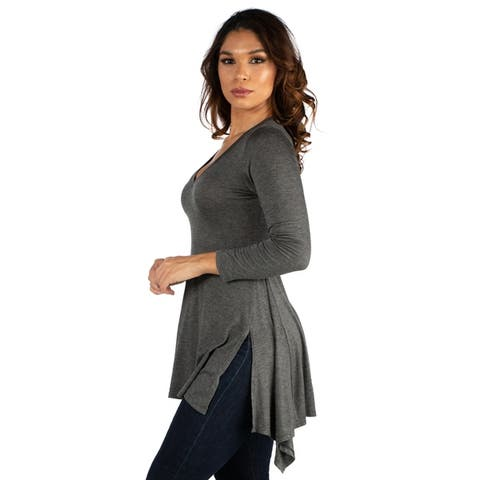 24seven Comfort Apparel Long Sleeve Split Hemline Tunic Top