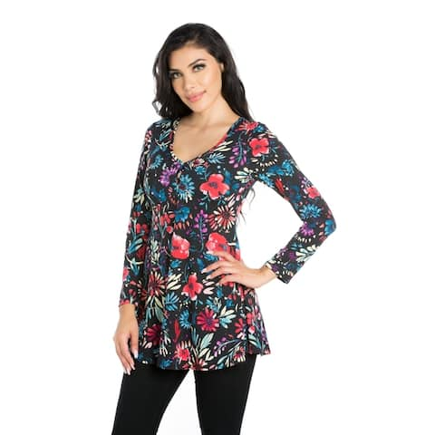 24seven Comfort Apparel Flared Floral Long Sleeve Henley Tunic Top