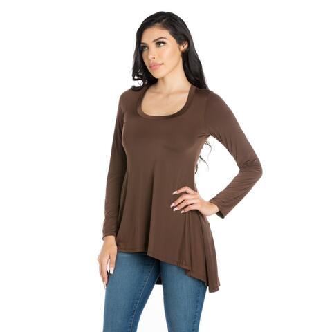 24seven Comfort Apparel Simple Long Sleeve Hi Low Tunic Top