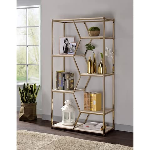 """Pell 72"""" Metal Glam Display Bookcase by FOA"""