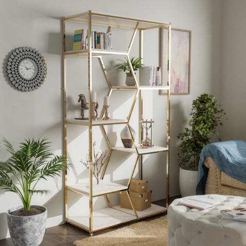 Silver Orchid Marion 72-inch Metal Glam Display Bookcase