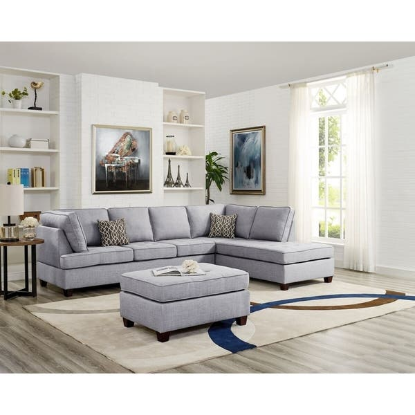 Superb Menefee Reversible Sectional With Ottoman Light Grey Uwap Interior Chair Design Uwaporg