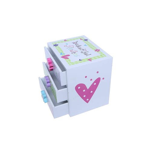 Kids Jewelry Box - Colorful Flower Compartment Drawer - Square Accessories Box