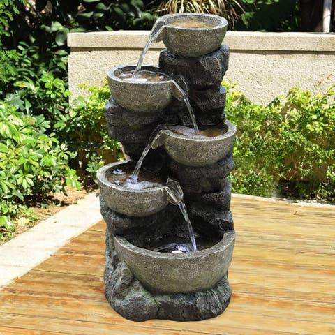 Outdoor Water Fountain with LED Light Stone Tiered Bowls Fountain
