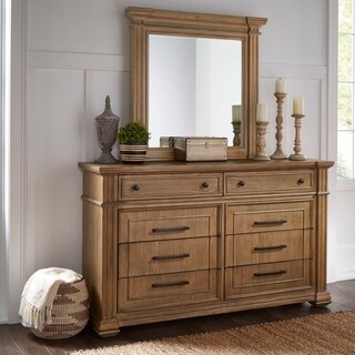 Mauer Light Distressed Natural Finish Dresser and Mirror by iNSPIRE Q Artisan