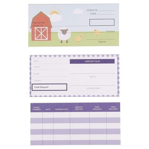 150-Sheet Checkbook Play Set Educational Toy for Kids, Farm Animals Themed