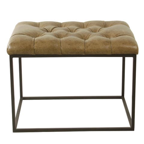 HomePop Small Decorative Ottoman - Distressed Brown Faux Leather