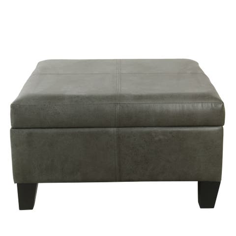 Copper Grove Mdina Large Faux Leather Storage Ottoman