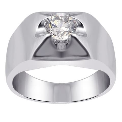 Cubic Zirconia Sterling Silver Round Solitaire Ring by Orchid Jewelry