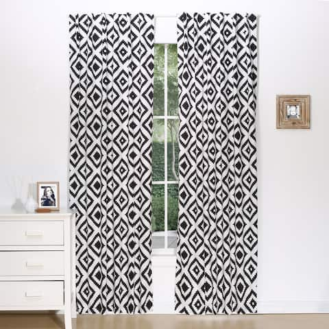 The Peanut Shell Tile Print Blackout Window Panel Pair in Black/White