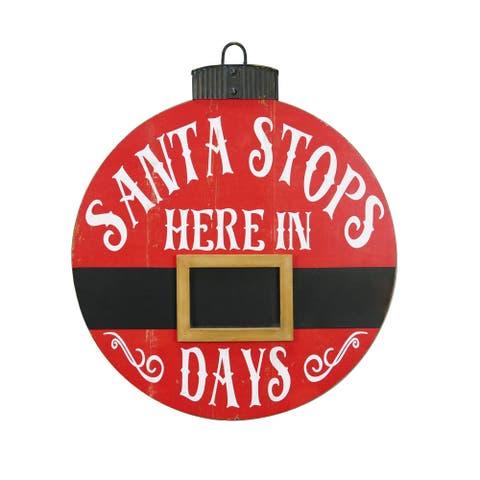Santa Stops Here Advent Calendar Wood Decor