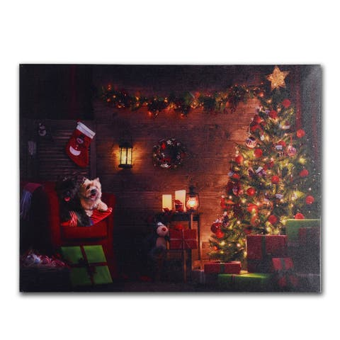 Dogs and Christmas Tree LED Canvas Art Print