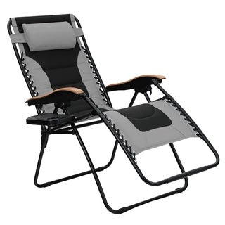PHI VILLA Oversize XL Padded Zero Gravity Lounge Chair Wider Armrest Adjustable Recliner with Cup Holder, Support 350 LBS, - N/A
