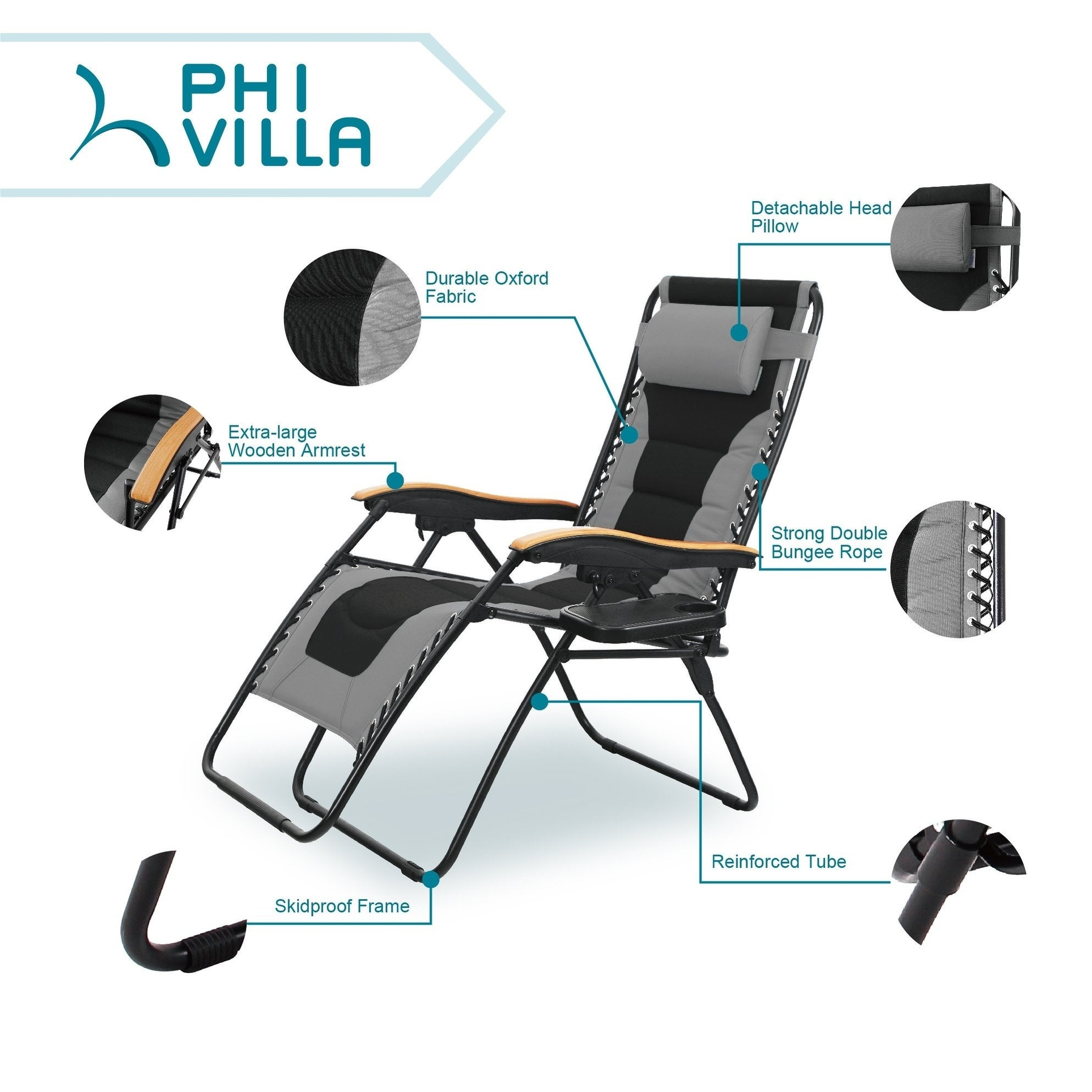 Phi Villa Oversize Xl Padded Zero Gravity Lounge Chair Wider Armrest Adjustable Recliner With Cup Holder Support 350 Lbs N A