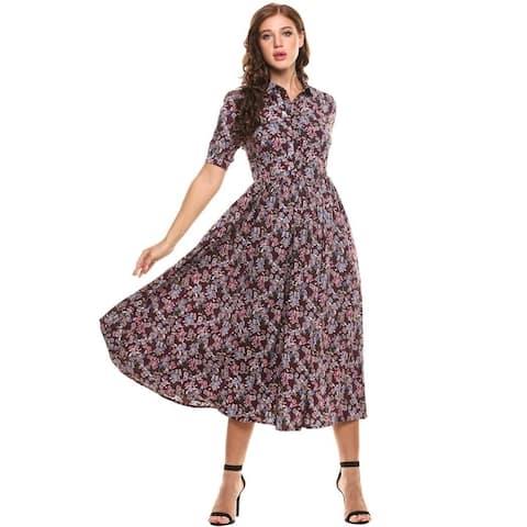 acevog Women's Vintage Style Peter Pan Collar Short Sleeve Floral Print Long Maxi Dress