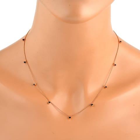 18Kt Gold Diamond Princess Necklace Jewelry With Jewelry Box