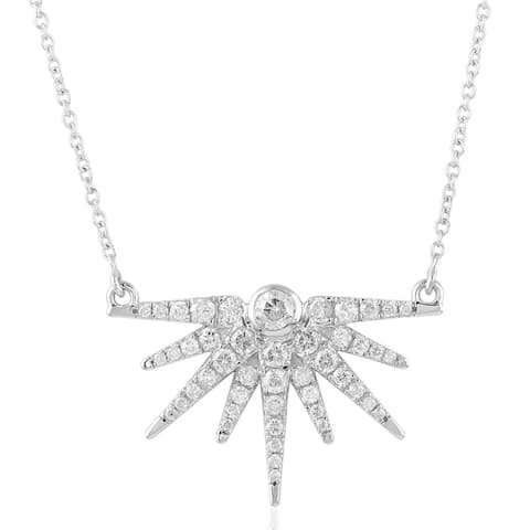 14kt Gold Pave Diamond Star Burst Collor Necklace Jewelry With Jewelry Box