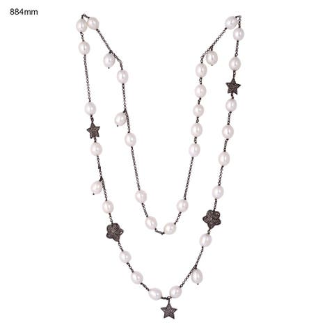 925 Sterling Silver Diamond Star Pearl Opera Necklace Pearl Jewelry With Jewelry Box