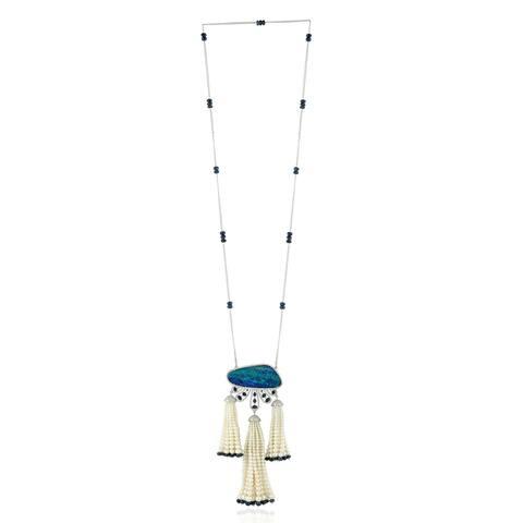 18k Gold Diamond Opal Doublet Pearl Sapphire Lariat Necklace Tassel Jewelry With Jewelry Box