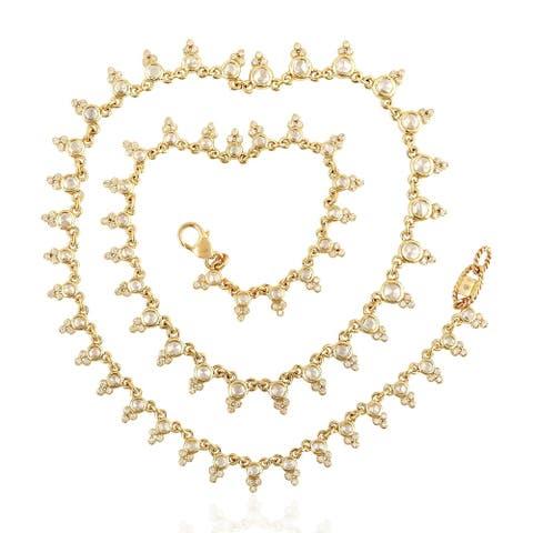 14kt Yellow Gold Women Choker Necklace Diamond Jewelry With Jewelry Box