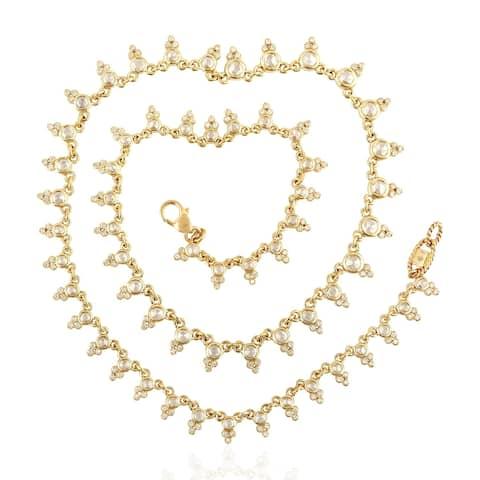 14Kt Gold Diamond Designer Choker Necklace Uncut And Rose Cut Diamond Jewelry