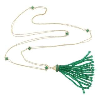 18Kt Gold Diamond Tassel Emerald Rope Lariat Necklace Tassel Jewelry