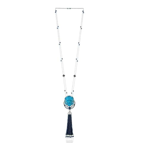18k Gold Diamond Carving Turquoise Pearl Sapphire Rope Necklace Tassel Jewelry With Jewelry Box