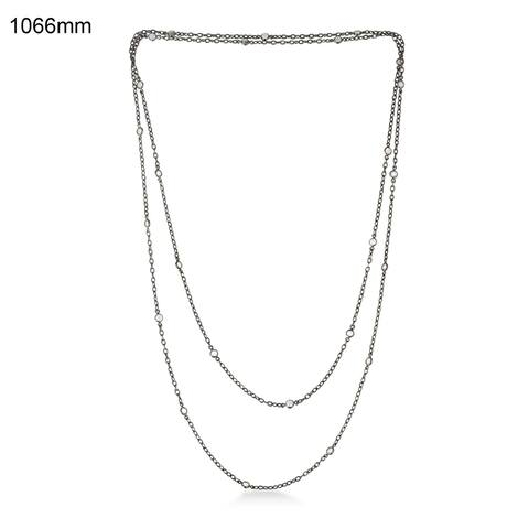 925 Sterling Silver Moonstone Rope/Lariat Necklace Beads Jewelry With Jewelry Box