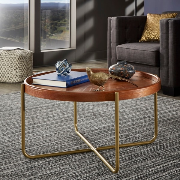 Steeplechase Gold Finish Metal and Wood Table Set by iNSPIRE Q Modern