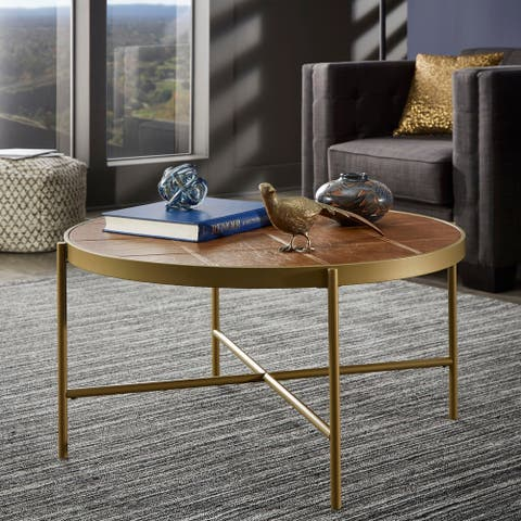 Vanderson Gold Finish Metal and Faux Leather Table Set by iNSPIRE Q Modern
