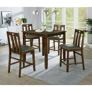 Furniture of America Tins Brown Solid Wood 5-piece Counter Dining Set