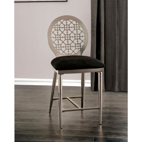 Furniture of America Tend Contemporary Silver Counter Chairs (Set of 2)