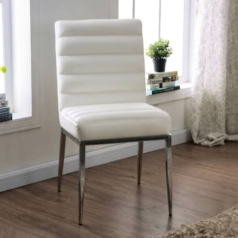 Furniture of America Zigg Contemporary White Side Chairs (Set of 2)