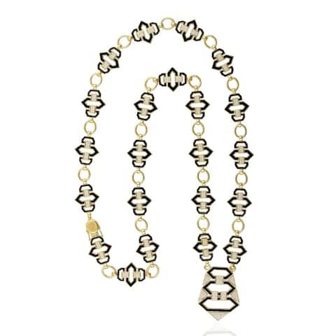 18Kt Gold Diamond Opera Necklace Enamel Jewelry With Jewelry Box