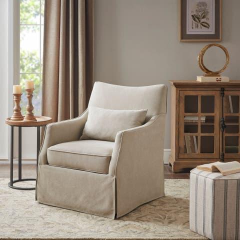 Martha Stewart London Skirted Swivel Chair