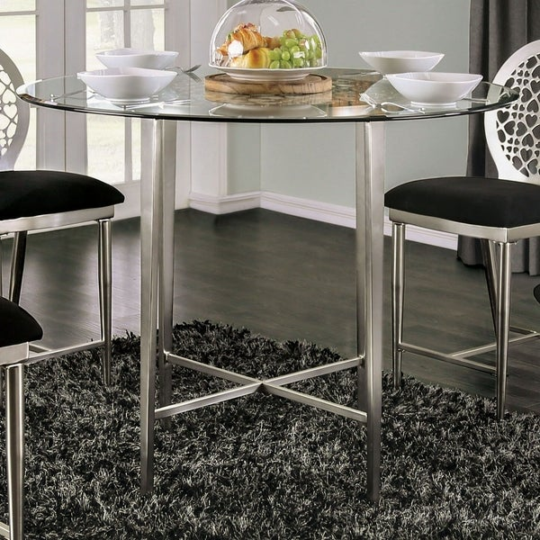Furniture of America Shelley Contemporary 48-inch Round Silver Glass Top Counter Height Dining Table. Opens flyout.