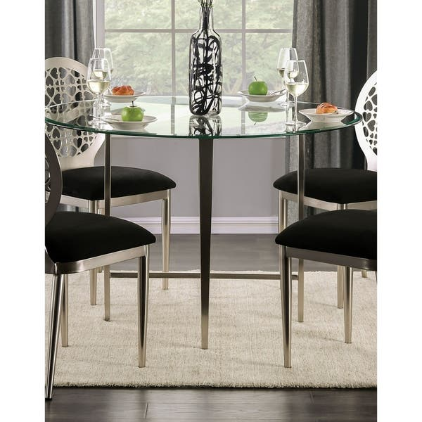 Furniture Of America Shelley Contemporary 48 Inch Round Silver Glass Top Dining Table Overstock 29126434
