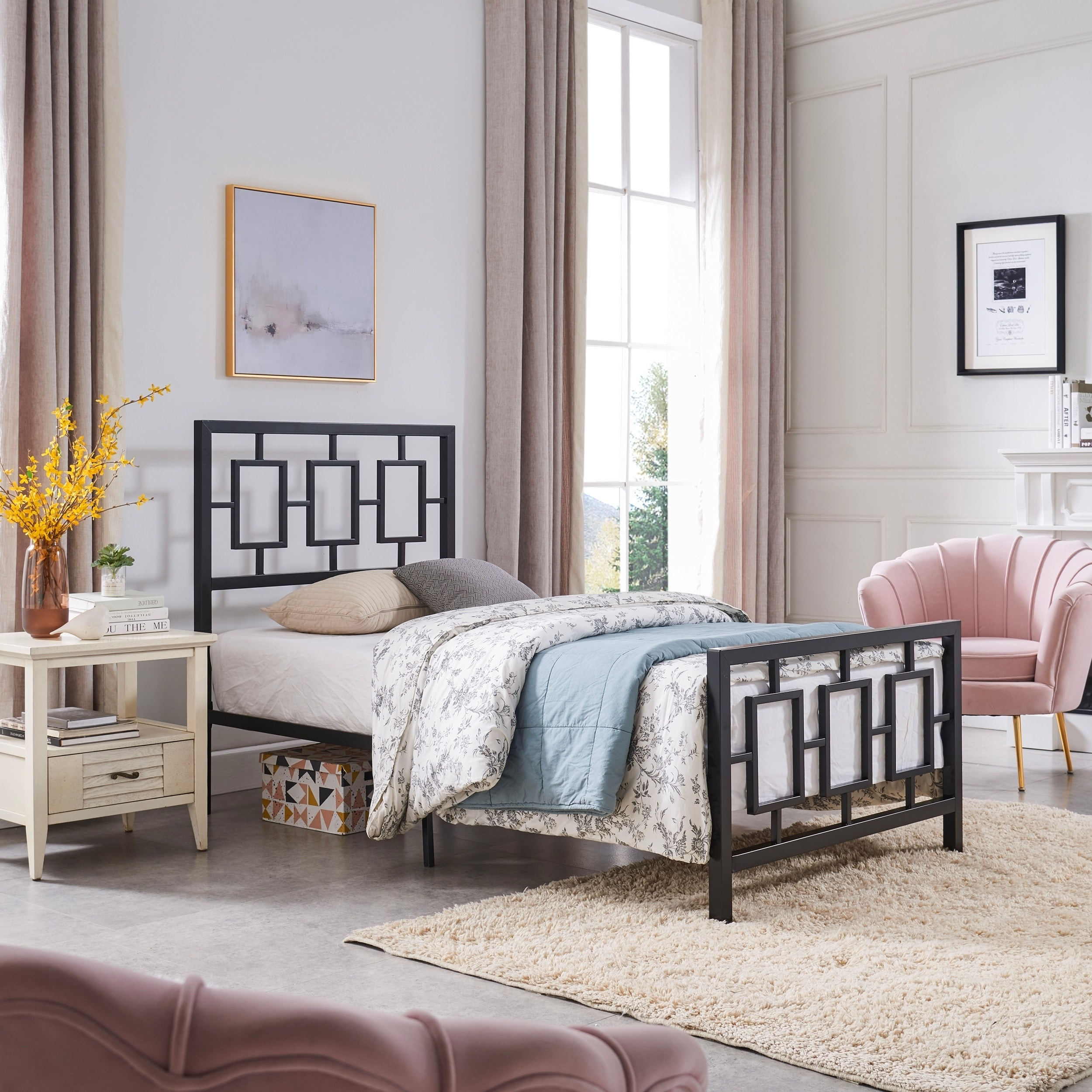 Claudia Modern Twin Bed Frame By Christopher Knight Home Overstock 29126447