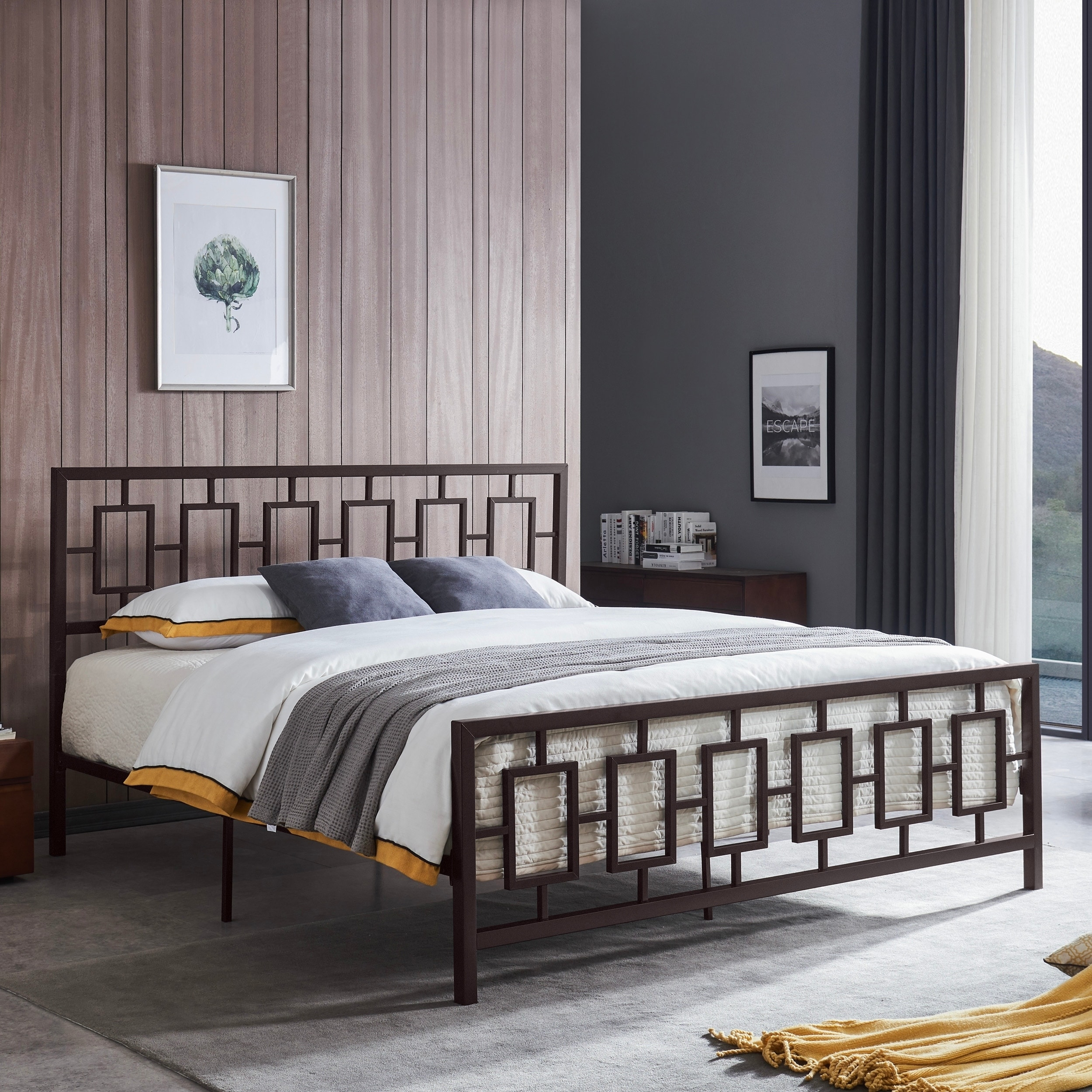 Claudia Modern King Bed Frame By Christopher Knight Home On Sale Overstock 29126448 White