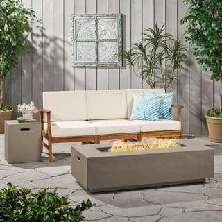 Perla Outdoor 3 Seater Acacia Wood Sofa Set with Rectangular Fire Table and Tank Holder by Christopher Knight Home