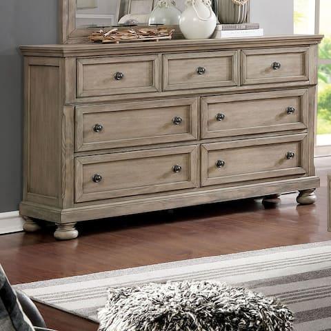 Furniture of America Nahkohe Transitional Grey Solid Wood Dresser