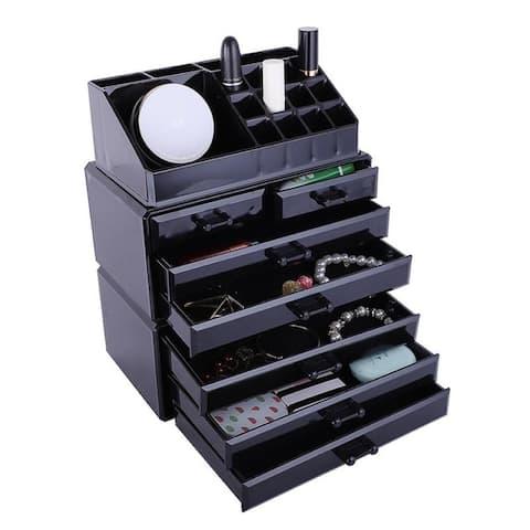 3 Pcs Set Acrylic Jewelry & Cosmetic Makeup Storage Display Boxes Stylish Vanity Bathroom Case