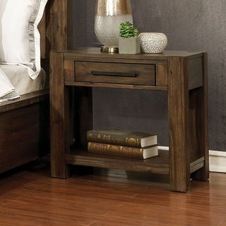 Furniture of America Pore Transitional Walnut Solid Wood Nightstand