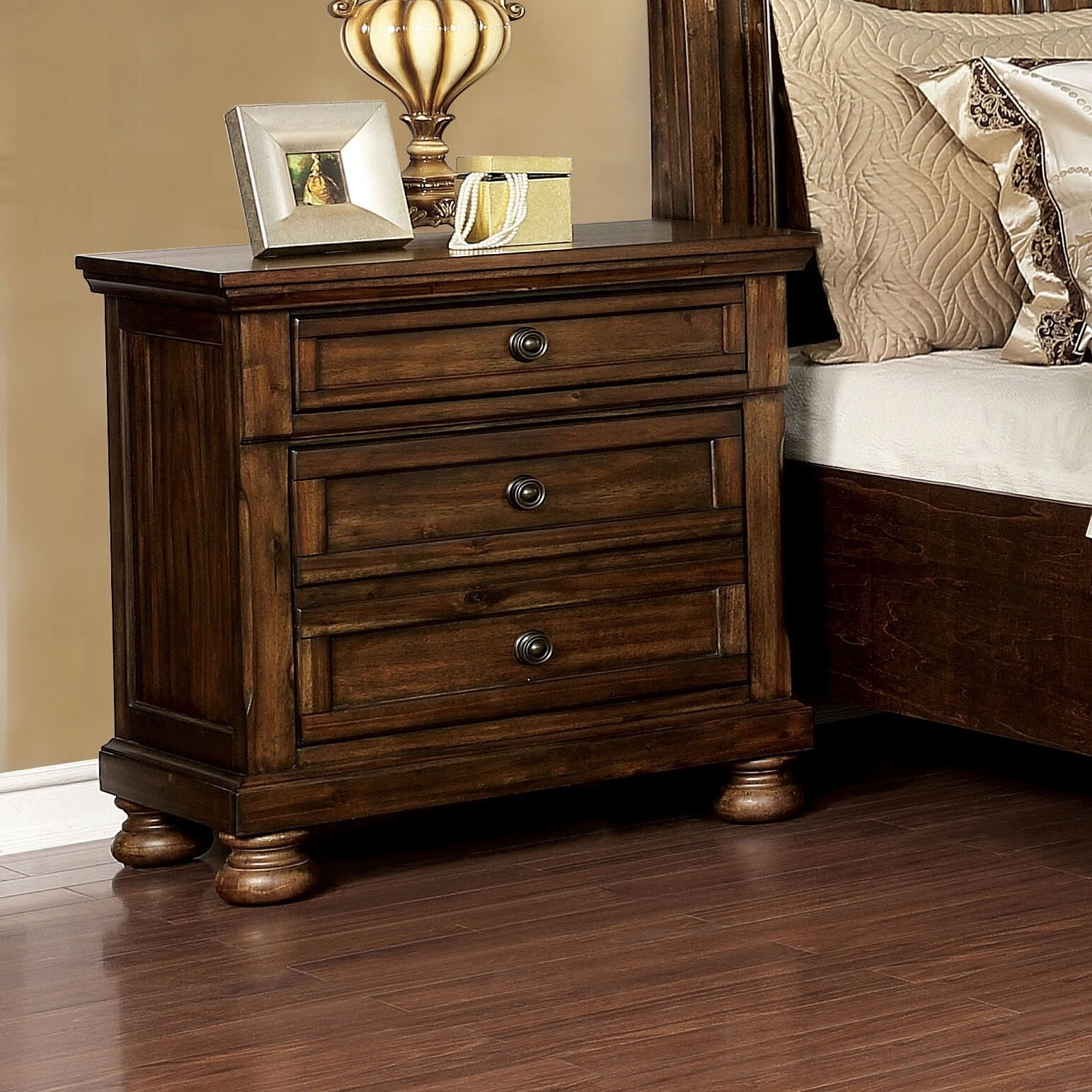 Furniture Of America Mallone Transitional Oak Solid Wood Nightstand On Sale Overstock 29126485