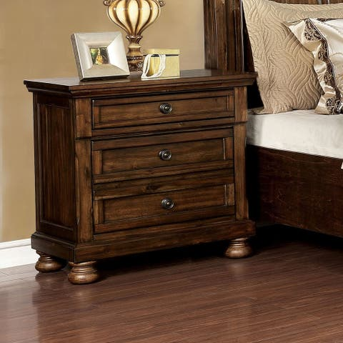 Furniture of America Mallone Transitional Oak Solid Wood Nightstand