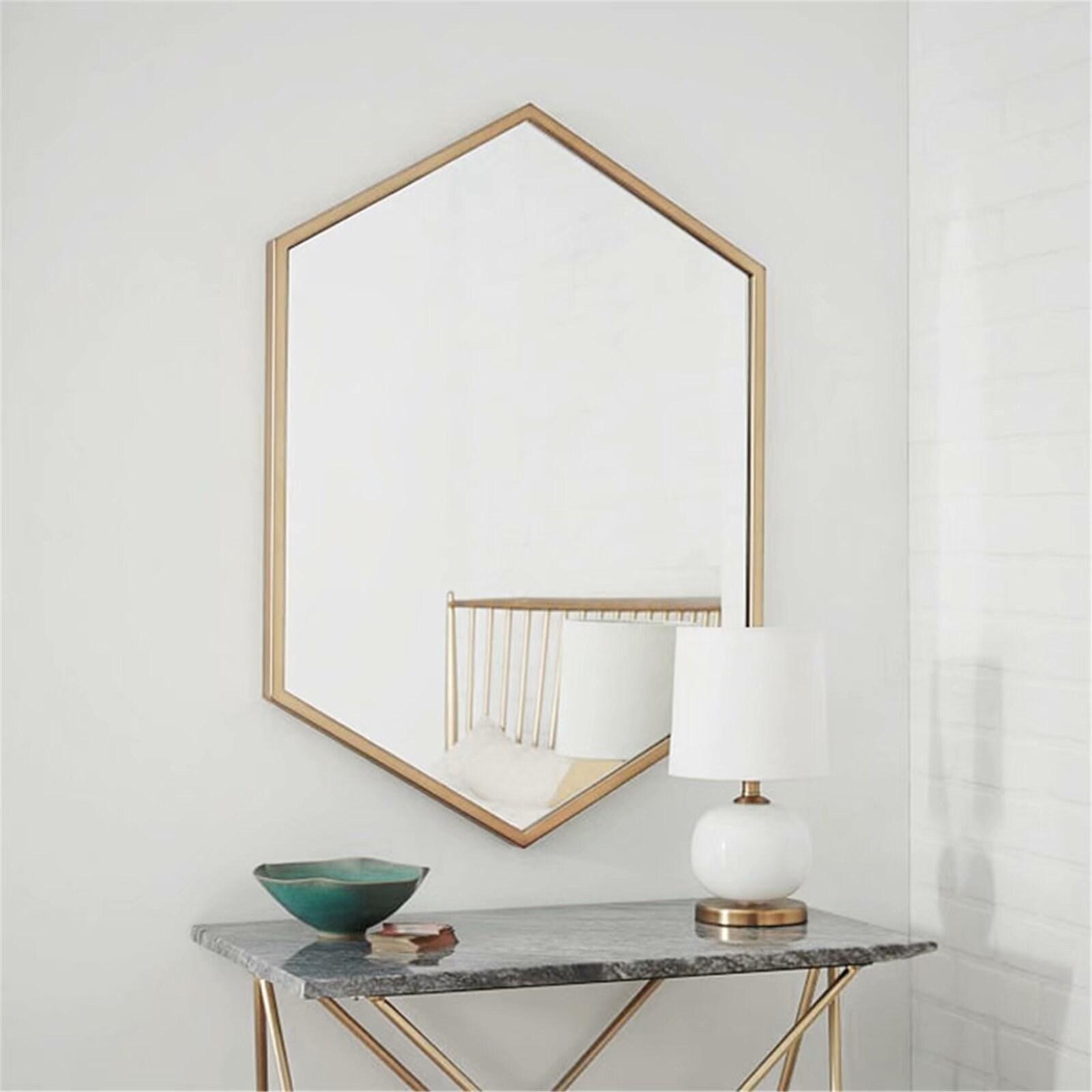 Long Hexagon Modern Decorative Wall Mounted Mirror 50 70cm