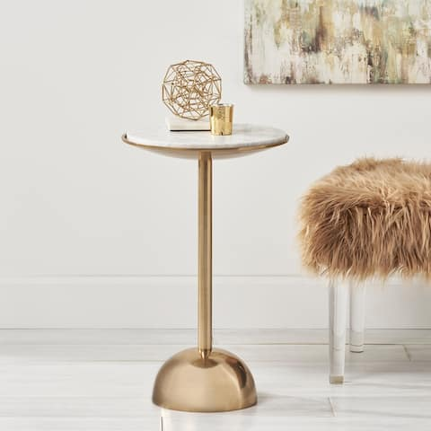Fairfax Modern Glam Handcrafted Aluminum Accent Table with Marble Table Top by Christopher Knight Home