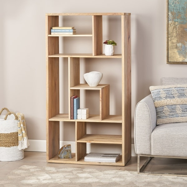 "Banneker Modern Handcrafted Mango Wood Bookshelf by Christopher Knight Home - 33.00"" W x 16.00"" D x 62.00"" H. Opens flyout."