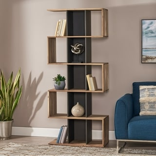 Link to Bassett Modern Handcrafted Acacia Wood Bookshelf by Christopher Knight Home Similar Items in Bookshelves & Bookcases
